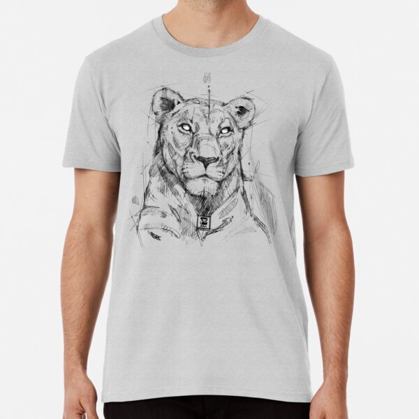 lion sketch drawing psdelux Premium T-Shirt