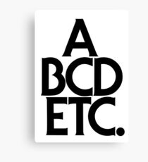 ABCDETC (black) Canvas Print