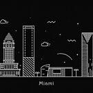 Miami Skyline Minimal Line Art Poster by A Deniz Akerman