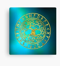 Tree of life  -Yggdrasil and  Runes alphabet Canvas Print