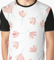 Watercolor pink flowers pattern Graphic T-Shirt