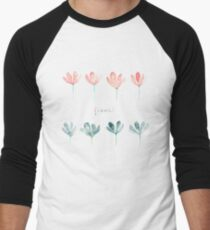 Watercolor pink and blue flowers Men's Baseball ¾ T-Shirt