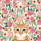 Orange Tabby floral cat head cute pet portrait gifts for orange tabby cat must haves by PetFriendly