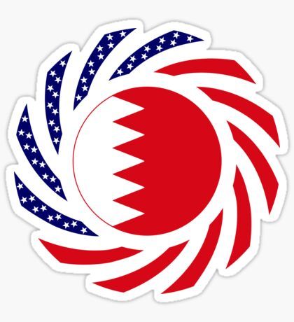 Bahrain American Multinational Patriot Flag Series Glossy Sticker