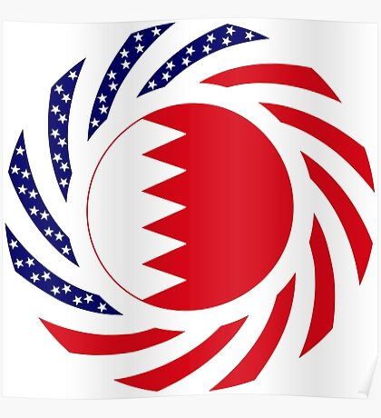 Bahrain American Multinational Patriot Flag Series Poster