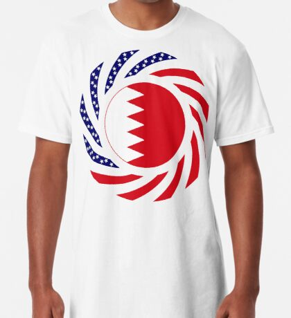 Bahrain American Multinational Patriot Flag Series Long T-Shirt