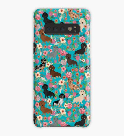 Dachshund dog breed floral pure breed weener dogs doxie dachsie must have Case/Skin for Samsung Galaxy