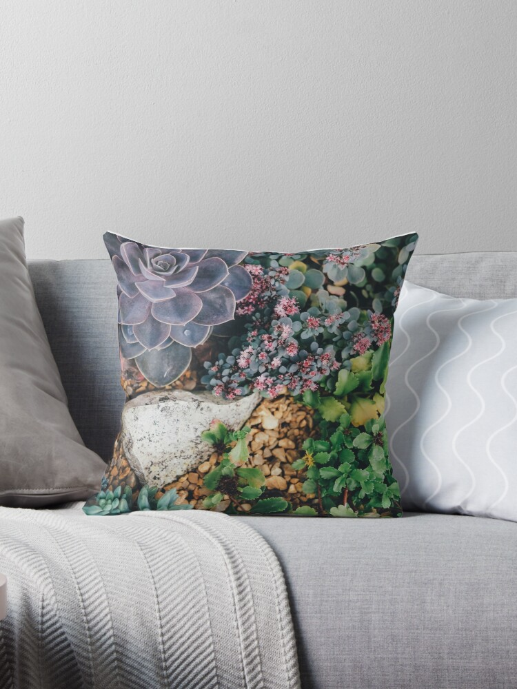 Succulent plants throw pillow by ScotHomeStyle