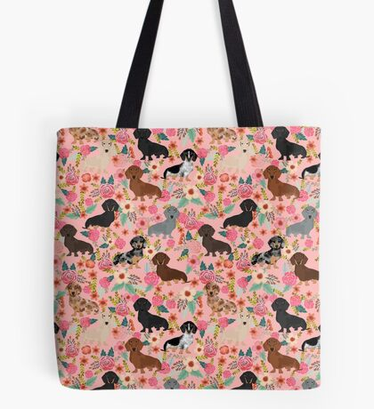 Dachshund dog breed floral pure breed weener dogs doxie dachsie must have Tote Bag