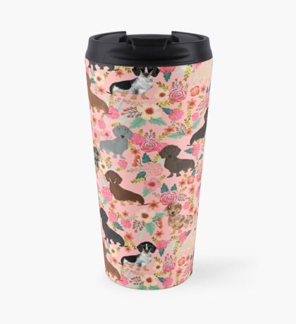 Dachshund dog breed floral pure breed weener dogs doxie dachsie must have Travel Mug