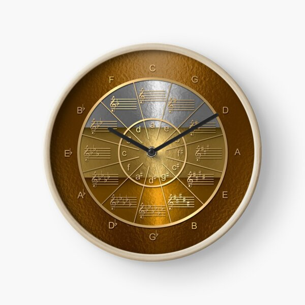 Circle of Fifths in Gold, Silver, & Bronze Clock