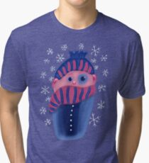 Freezing Kid With Hat And Scarf Tri-blend T-Shirt