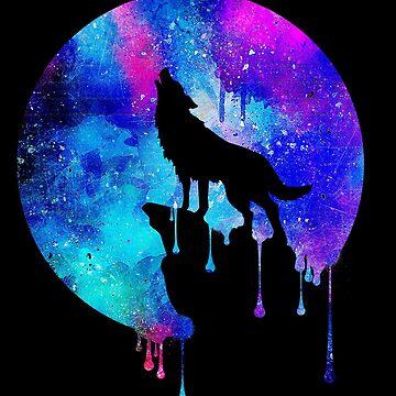 Howling Wolf - Howling Wolf - Full Moon - Full Moon - Watercolor - Art - Art - Trend - Splatter - Gift - Gift - Galaxy - Universe - Space by Cheesybee