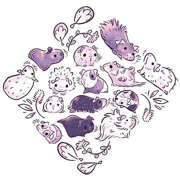Guinea Pig Diamond In Dusty Purple by Paigekotalik