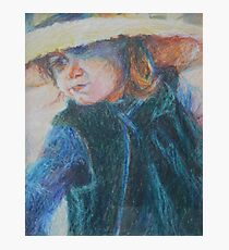 Big Hat - A Girl In A Blue Outfit Photographic Print