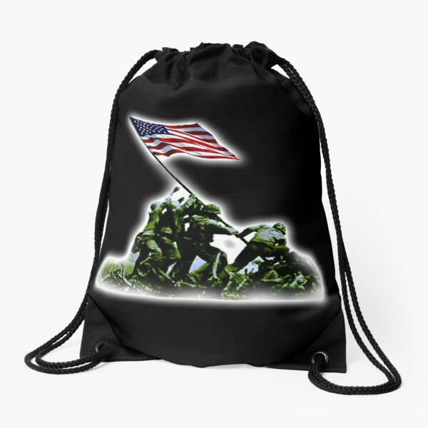American Flag. America, USA. Raising the Colours on Iwo Jima WW2. On BLACK. Drawstring Bag