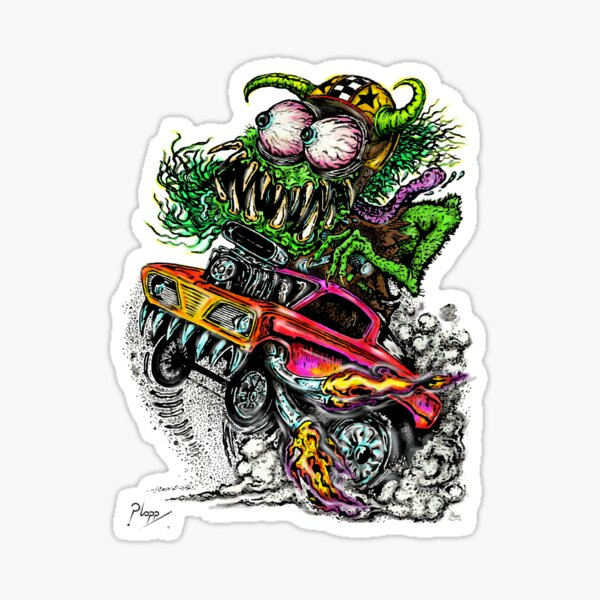 Retro Drag Racing Hot Rod gasser. Sticker