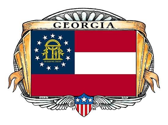 Georgia Art Deco Design with Flag