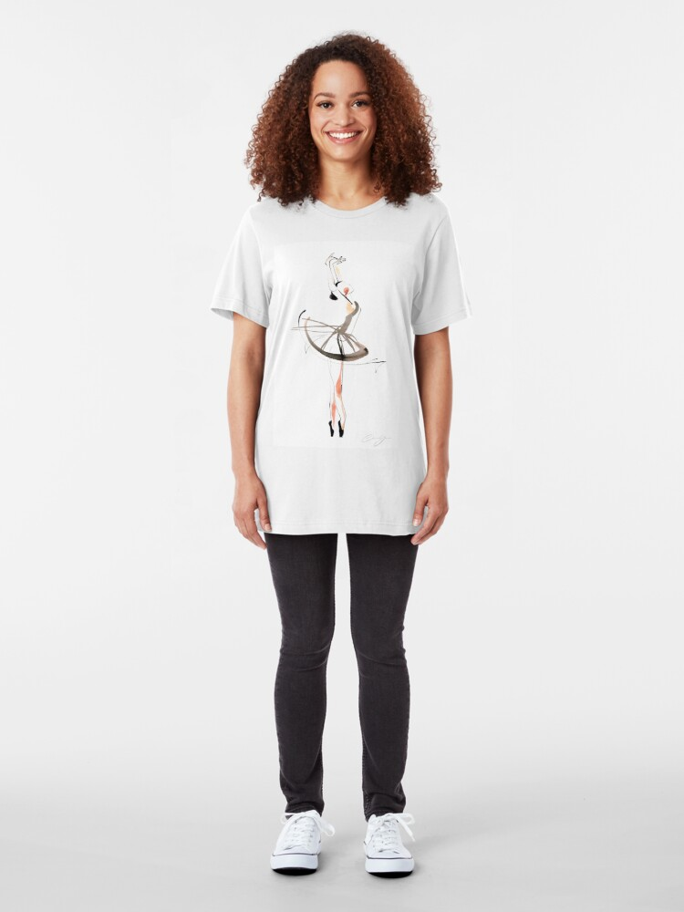 Alternate view of Ballet Dance Drawing Slim Fit T-Shirt