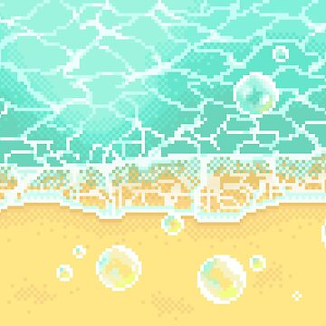 Pixel bubbly beach by conniekidd