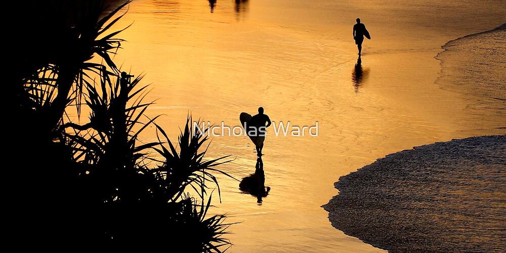 Surfers at sunset, Gold Coast by Nicholas Ward