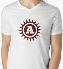 Monogram A Red Spike Circle Men's V-Neck T-Shirt