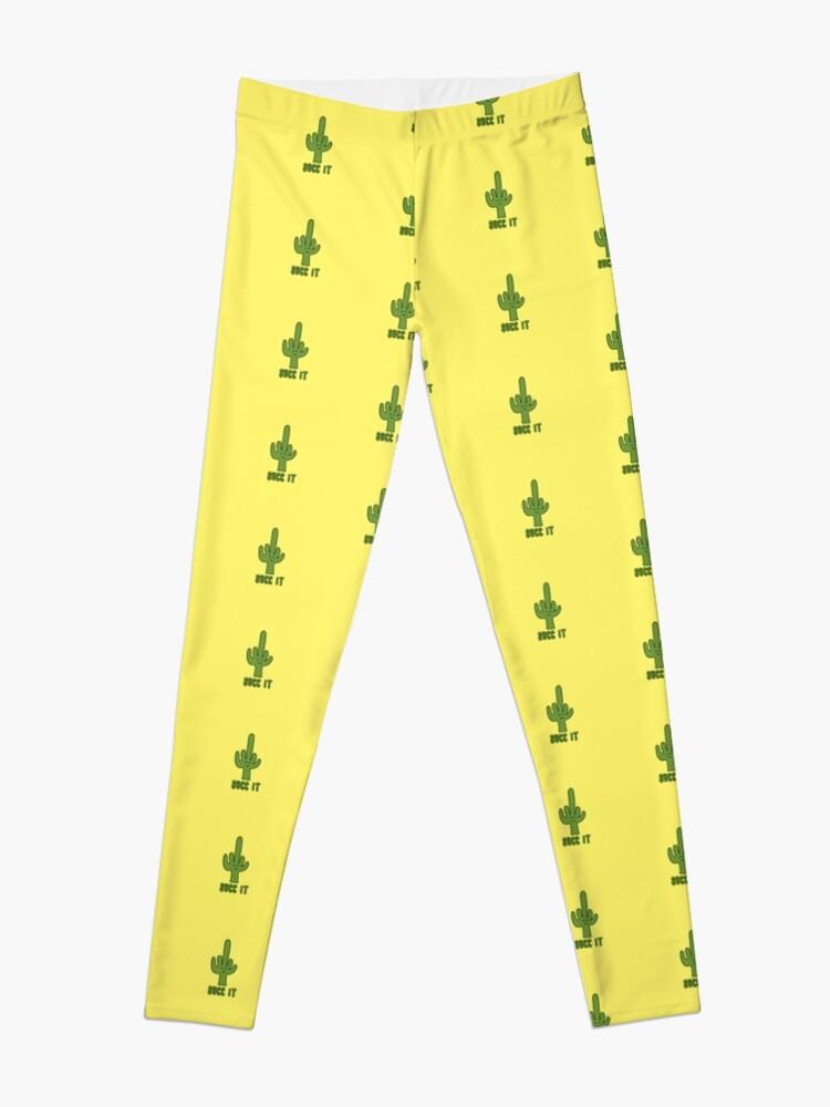 Alternate view of Succ It - Cute But Rude Cactus - Yellow Leggings