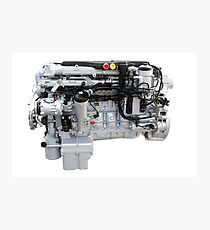 Heavy truck engine isolated on white Photographic Print