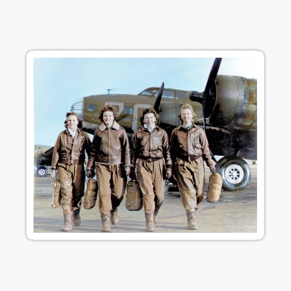 Four female pilots leaving their ship, Pistol Packin' Mama, at the four engine school at Lockbourne AAF. World War II, 1944. Sticker