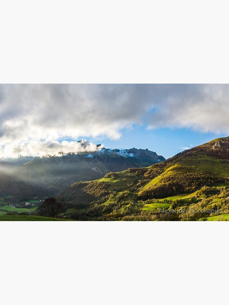 Wide panotamic view of Pyrenees on sunrise, France by sorokopud