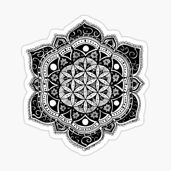 Flower of Life Mandala Sacred Geometry - Hand drawn design Sticker