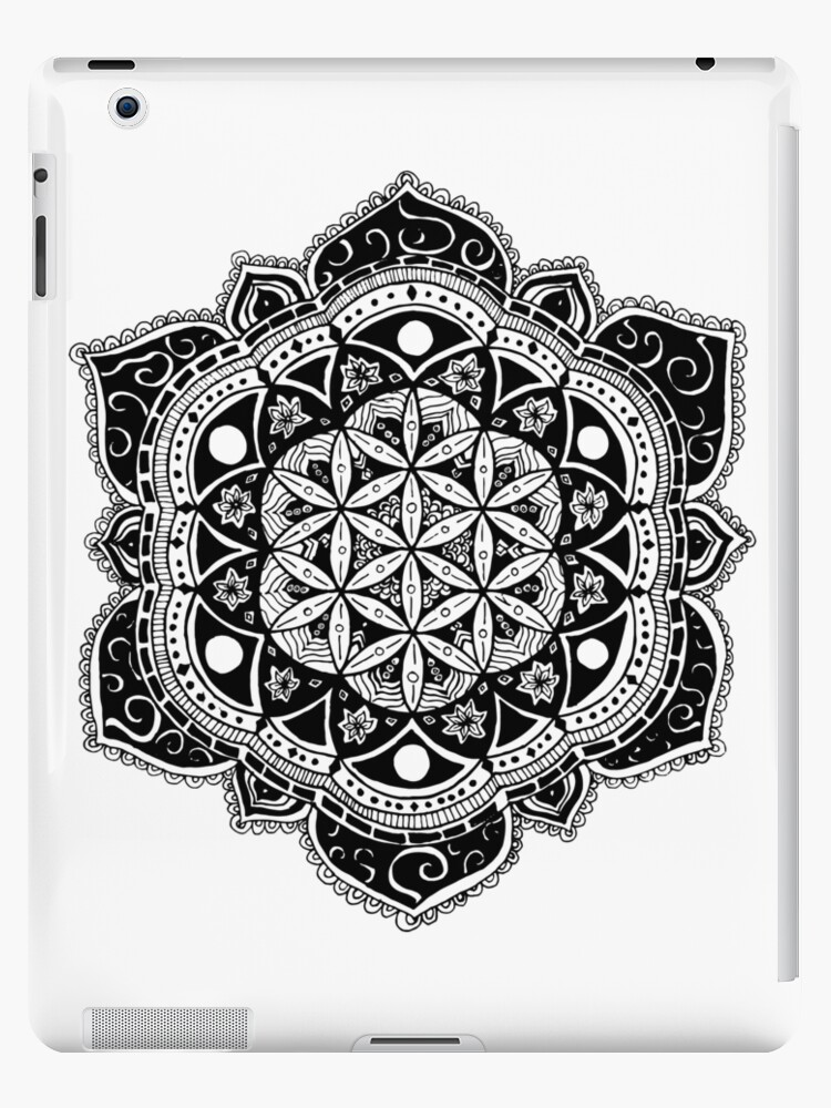 Flower Of Life Mandala Sacred Geometry Hand Drawn Design Ipad Case Skin By Tekslusdesign Redbubble