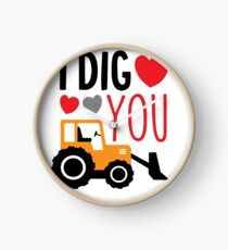 I Dig You Kids Valentine Shirt Clock