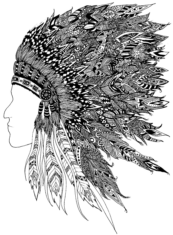 Zendoodle native american headdress  by tekslusdesign