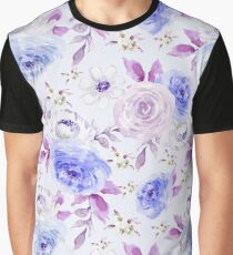 Blue and Violet Big Flowers Graphic T-Shirt