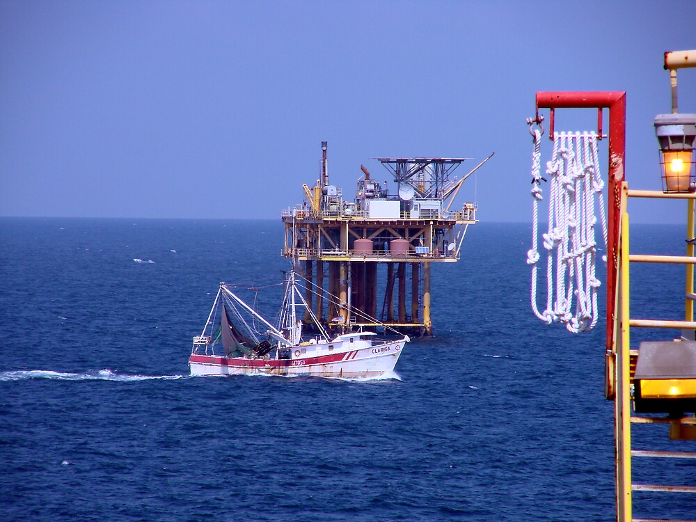Shrimping and Oil in Harmony by richard dailey