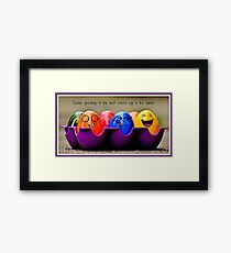 Easter greetings from a colorful bunch Framed Print