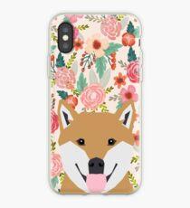 Shiba Inu floral dog face cute peeking shiba inus gifts iPhone Case