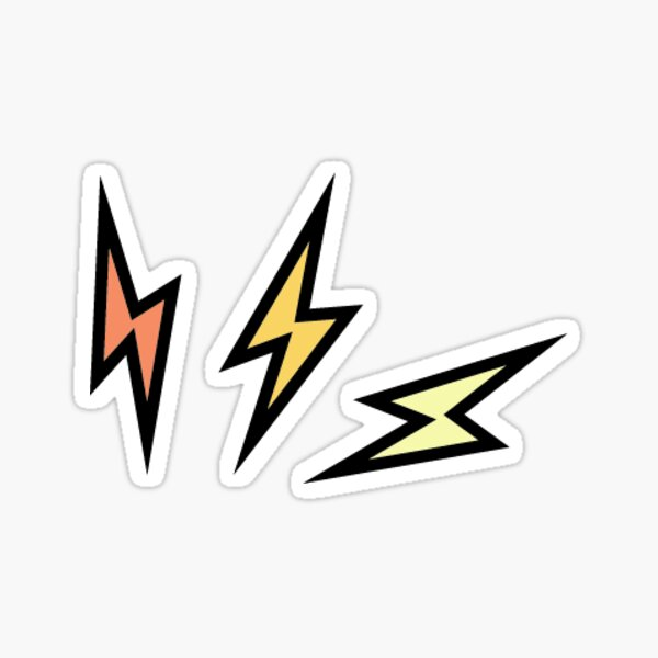 triple lightning bolt zap Sticker