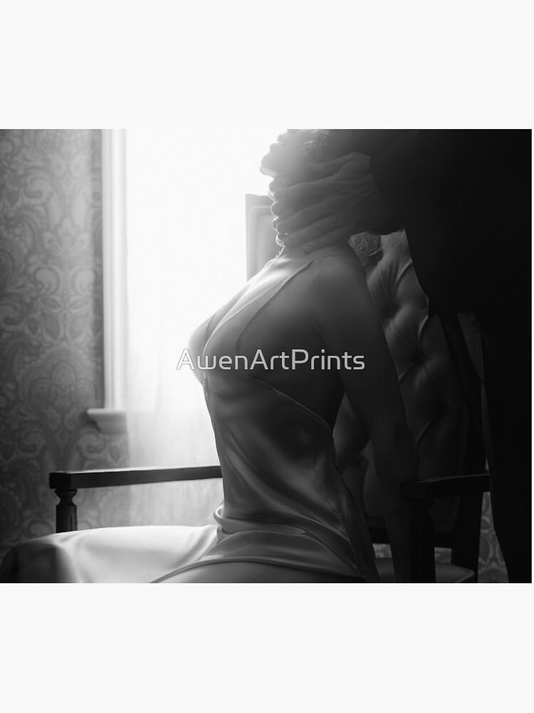 Sensuel Artistique Couple Noir Adn Blanc Portrait De Homme Mains Caresser Beau Femme Cou Art Photo Impression Housse De Couette