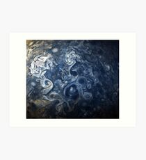 Swirling Blue Clouds of Planet Jupiter from Juno Cam Art Print