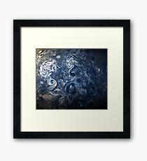 Swirling Blue Clouds of Planet Jupiter from Juno Cam Framed Print