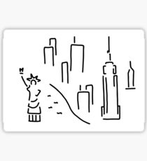 new York the Statue of Liberty skyscraper Sticker