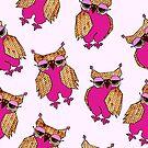 Purple Quirky Owl Pattern by Lisafrancesjudd