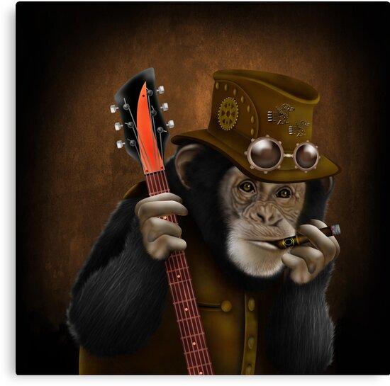 Rocker guitarist Smokin ape by ADZKIYYA DESIGN