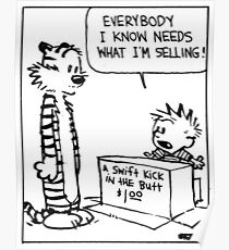 """Calvin and Hobbes """"A Swift Kick in the Butt"""" Comic Strip Poster"""