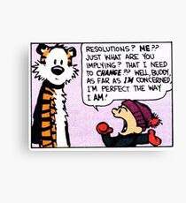 Calvin and Hobbes Comic Strip Canvas Print