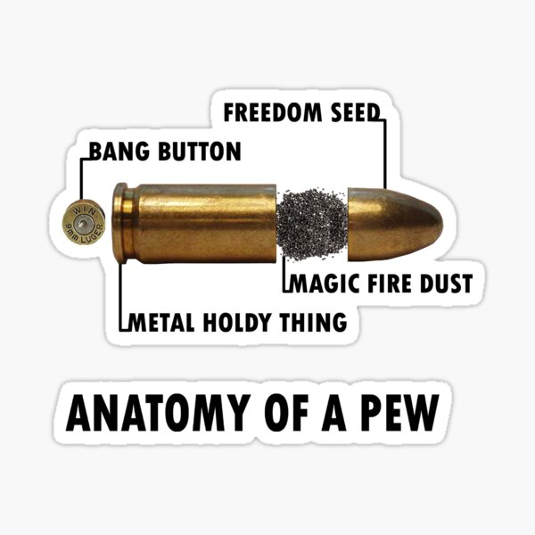 Anatomy of a Pew FPS Bullet Deconstruction For Gamers Geeks and Nerds Sticker