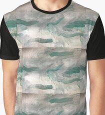 Turquoise Over Grey Swirls Graphic T-Shirt