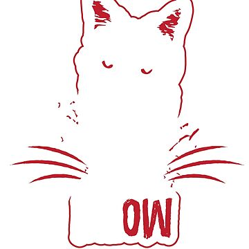 Funny Cat T Shirt Angry Cat Meow White And Red by loumed
